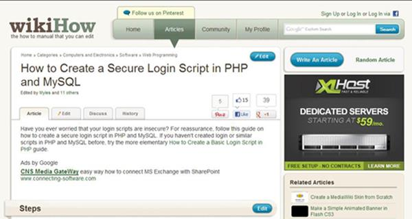How to Create a Secure Login Script in PHP and MySQL by WikiHow