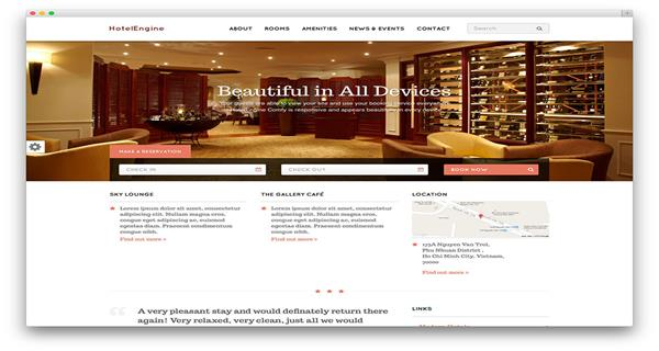 Mesmerizing top ten wordpress themes for gorgeous hotels for Comfy hotels resorts