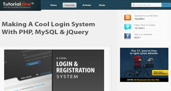Making a Cool Login System with PHP, MySQL and jQuery by Tutorialzine