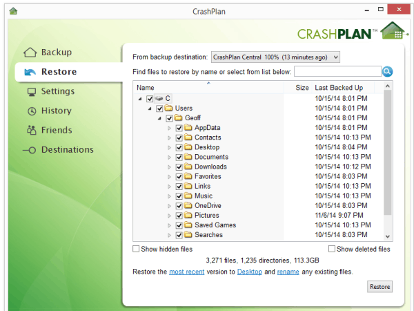 CrashPlan restoration