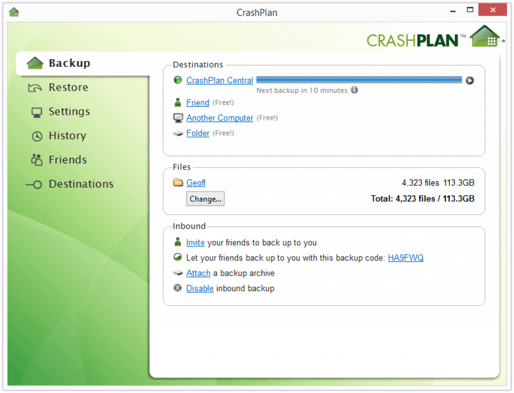 crashplan interface